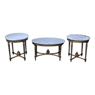 1970s Traditional Gilded Marble Cocktail & Accent Tables - Set of 3 For Sale