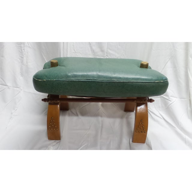 Vintage Camel Saddle Stool with Teal Cushion For Sale - Image 11 of 11