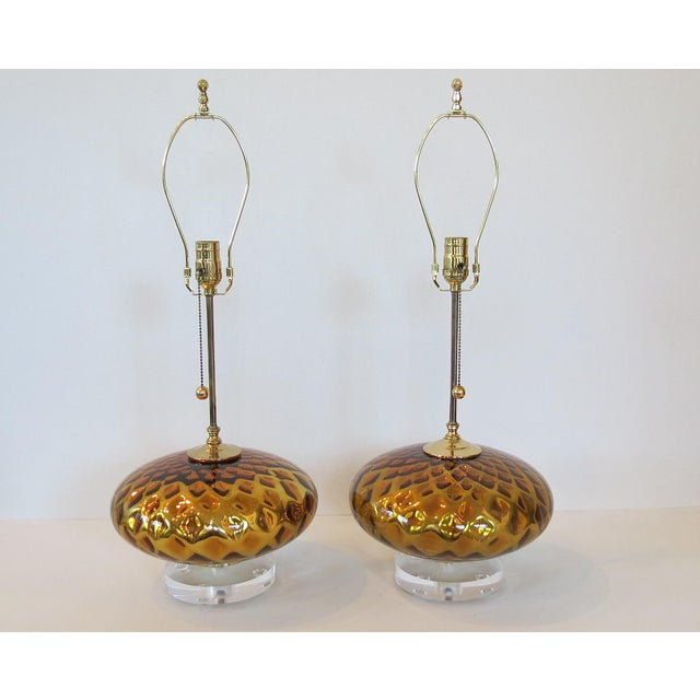Vintage Gold Mercury Murano Glass Lamps - A Pair - Image 2 of 7