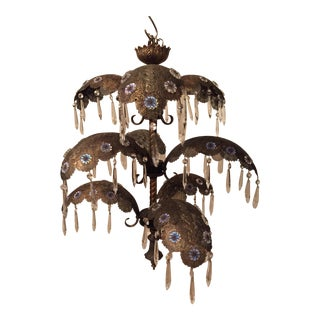 Moroccan Moorish Brass Chandelier with Crystals