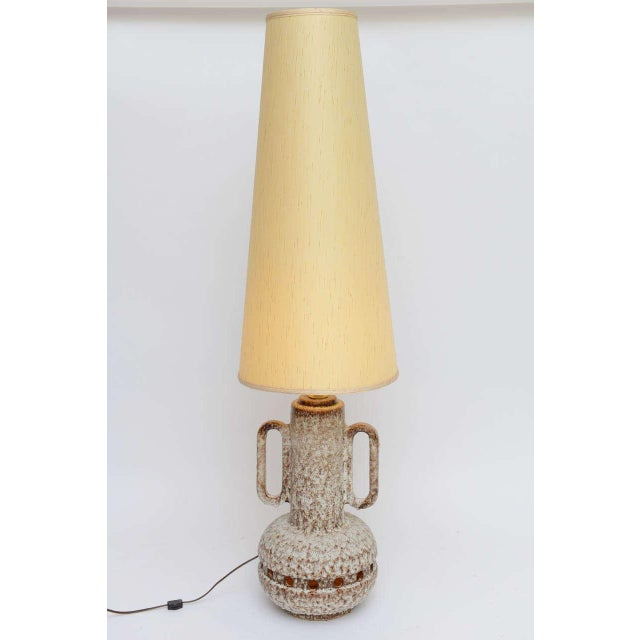 Monumental Mid Century German Lava Glaze Pottery Table Floor Lamp - Image 4 of 10