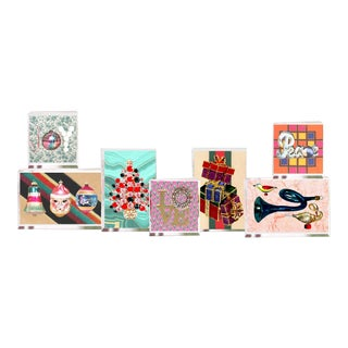 Original Vintage Geometric Holiday Pop Art Lucite Block Small Collage - Collection of 7 For Sale