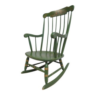 Vintage Nichols and Stone Country Green Paint Decorated Rocking Chair For Sale
