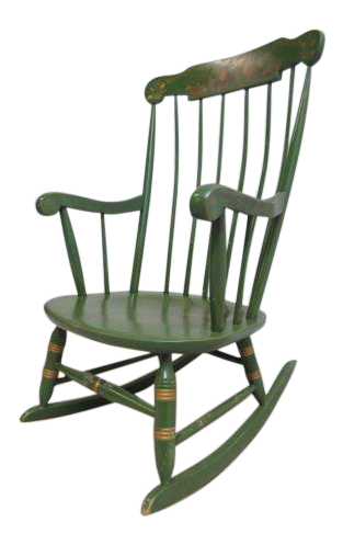 Vintage Nichols And Stone Country Green Paint Decorated Rocking Chair