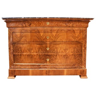 19th Century Louis Philippe Walnut Commode With Marble Top For Sale