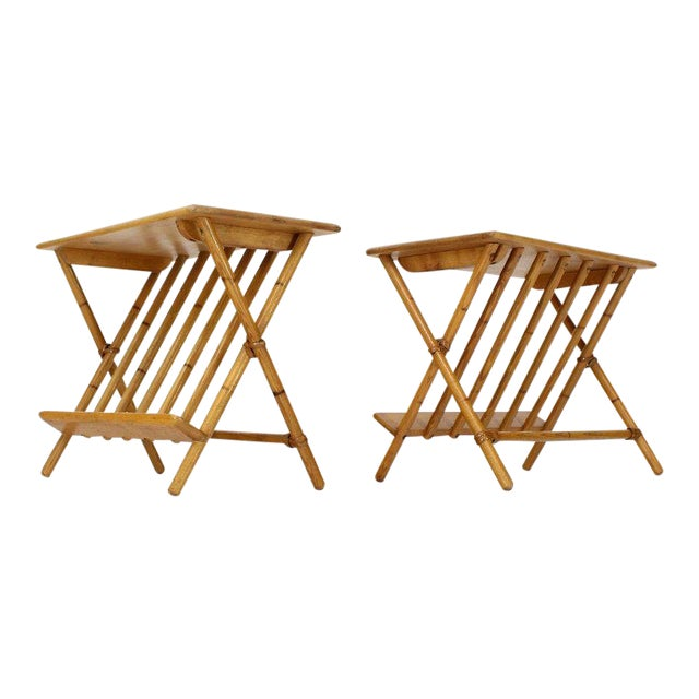 Pair of Faux Burnt Bamboo X-Base Rectangular Side End Tables With Magazine Rack For Sale