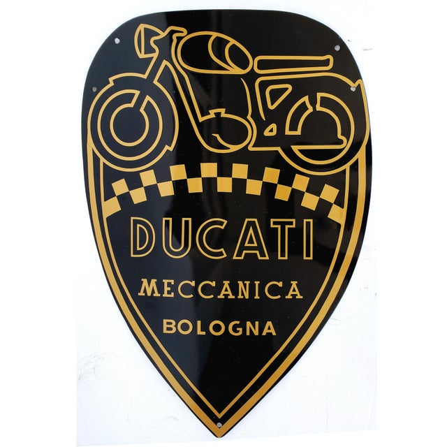 Late 20th Century Vintage Ducati, Italy - Enamel Motorcycle Sign For Sale - Image 5 of 5