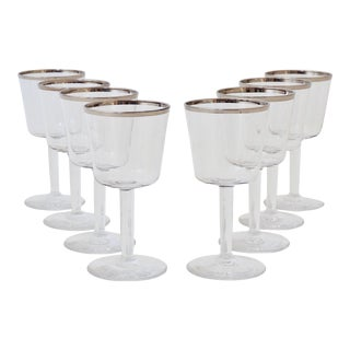 Rare Dorothy Thorpe Cordial Glasses W/ Silver Rim For Sale