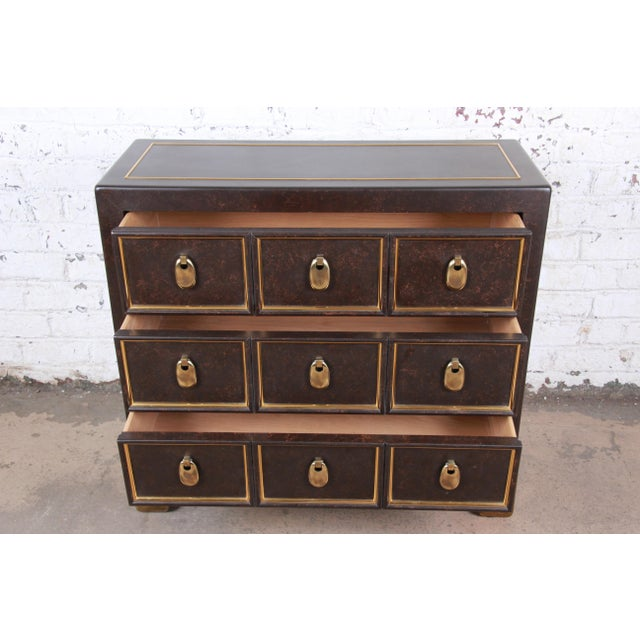 Mastercraft Hollywood Regency Chinoiserie Faux Tortoise Shell and Brass Chest of Drawers For Sale In South Bend - Image 6 of 13