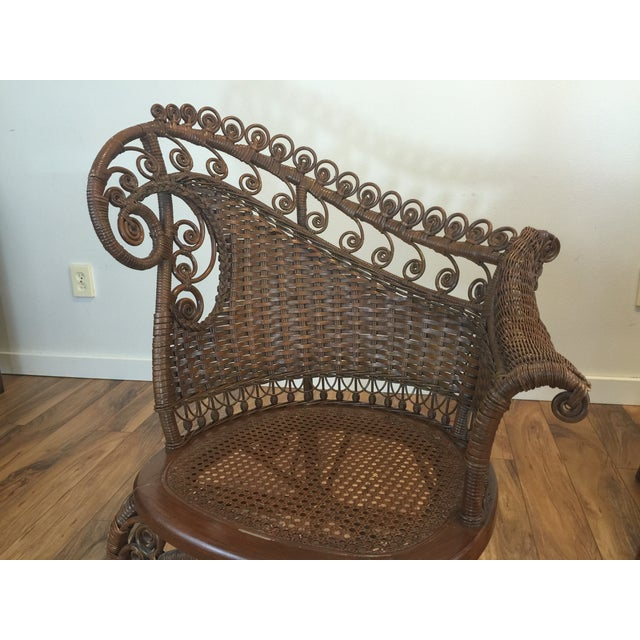 Brown Antique Wicker Photographer's Chairs - A Pair For Sale - Image 8 of 11