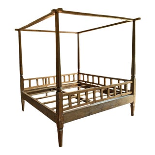 Vintage Colonial Teak Canopy Bed For Sale