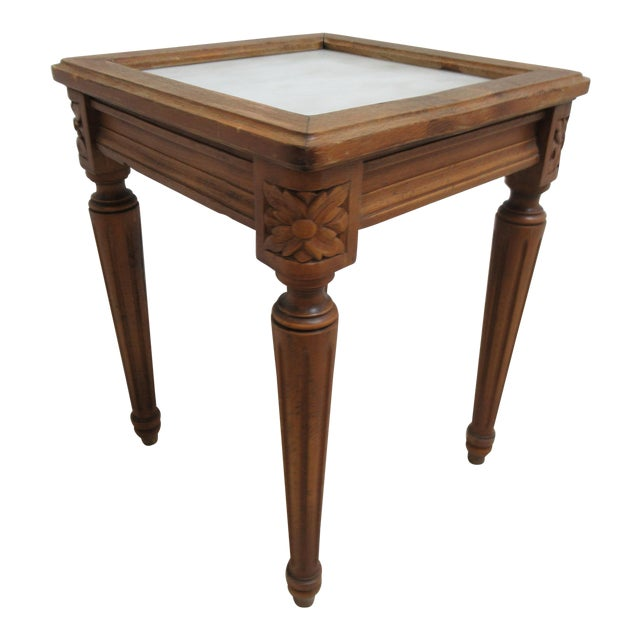 1930s French Carved Marble Top End Table For Sale