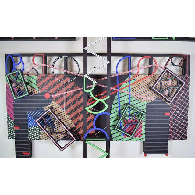 """Abstract 1991 Contemporary Geometric Polychrome Wood Canvas Wall Sculpture, """"Latticed Planes Two"""" For Sale - Image 3 of 6"""