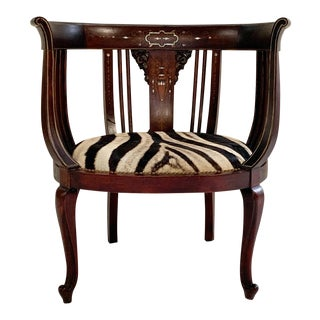 Antique Inlay Armchair in Zebra Hide For Sale