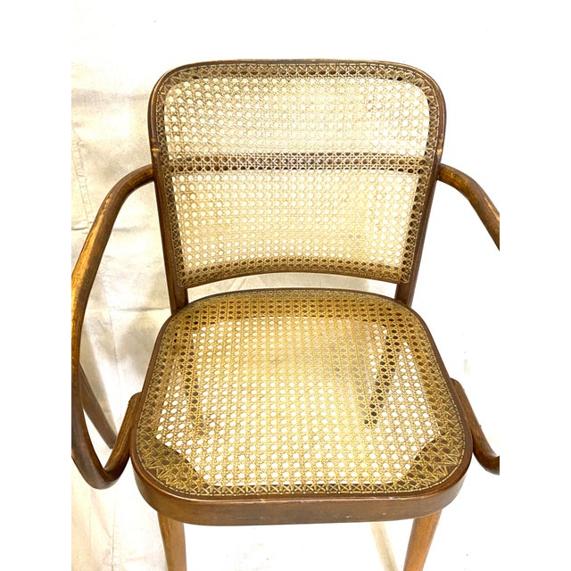 Stendig Rare Antique Stendig Set of 4 Bentwood French Stitched Nylon Cane Wood Dining Chairs For Sale - Image 4 of 13