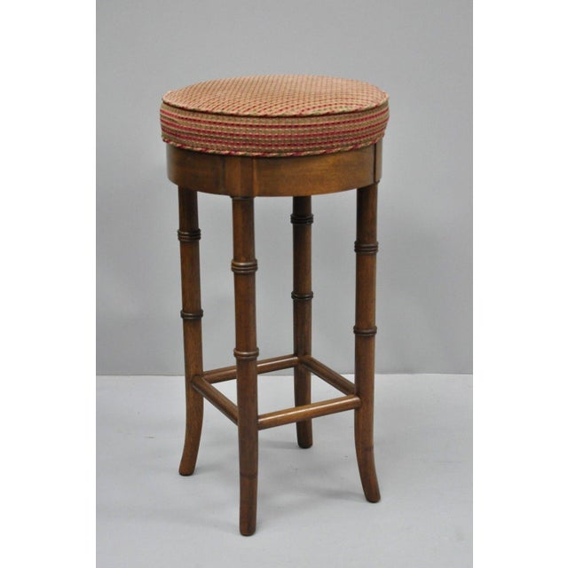 Vintage Chinese Chippendale Style Mahogany Faux Bamboo Counter Bar Stool For Sale - Image 10 of 11