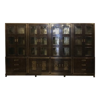 1970s Mastercraft Burl Wood Wall Unit or Bookcases For Sale