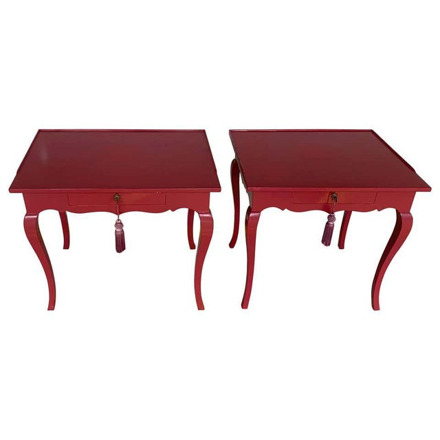 Bold Mauve Lacquered End/ Nightstands Tables For Sale - Image 10 of 10