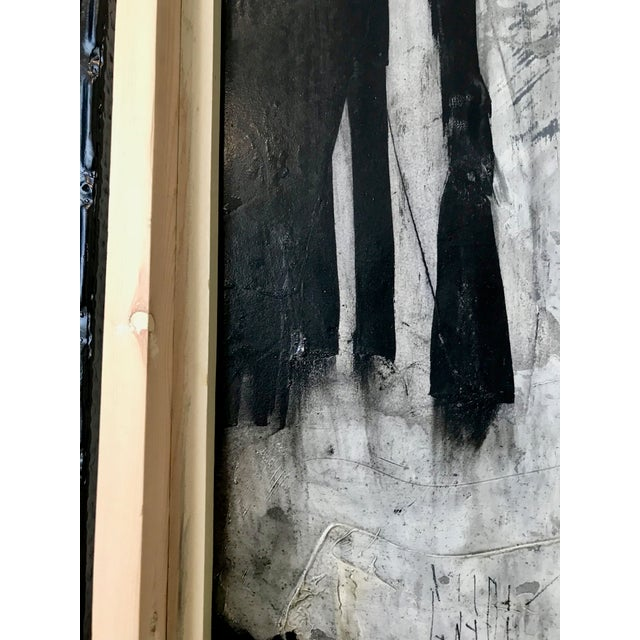 1960s Vintage Graham Harmon Abstract Black and White Paintings - a Pair For Sale - Image 4 of 9