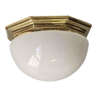Mid-Century Reclaimed Brass & Milk Glass Globe Dome Flush Mount For Sale