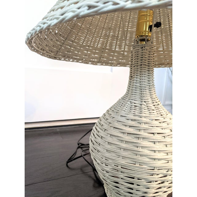 Boho Chic Vintage 1970s Whitewash Wicker Table Lamp For Sale - Image 3 of 10