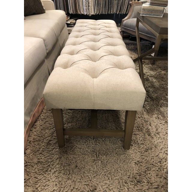 Kenneth Ludwig Chicago Marcy Linen Bench For Sale - Image 4 of 7