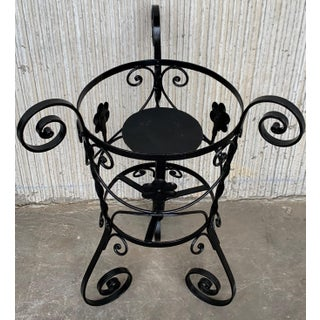20th Century Set of Two Black Wrought Iron Painted Adjustable Plant Stands Preview