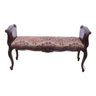 Late 20th Century Modern Upholstered Carved Bench For Sale