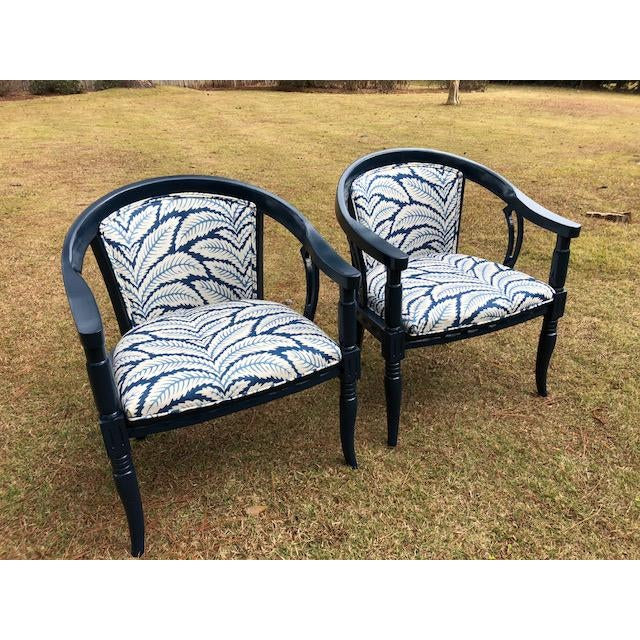 Brunschwig and Fils Navy & White Fabric Chairs - A Pair - Image 3 of 5