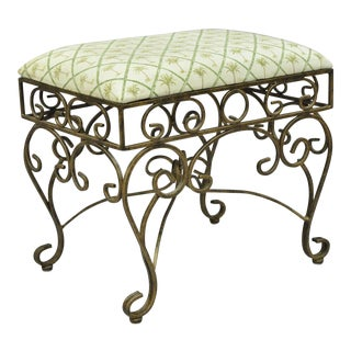 Mediterranean French Style Scrolling Iron Gold Upholstered Stool Bench For Sale