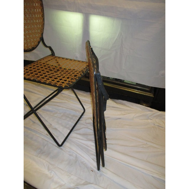 French Iron Beach Chairs With Cane Seats - A Pair - Image 9 of 11