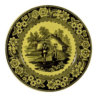Creil Et Montereau Canary Yellow Creamware Figural & Floral Plate For Sale