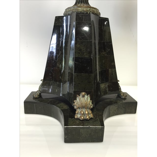 Bronze & Green Marble Candelabra Lamps - Pair - Image 6 of 8