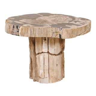 Petrified Wood Pedestal Coffee Table For Sale