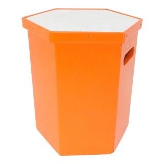 Mid Century Modern Orange & Formica Stool For Sale