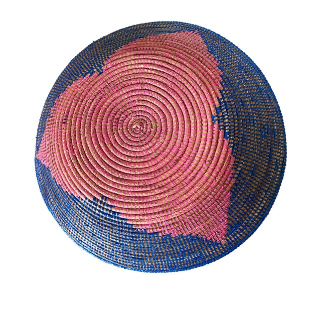 """Lg Handmade Woven Wolof Basket From Senegal 17.25"""" in D For Sale - Image 4 of 8"""