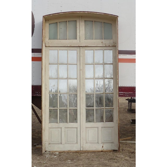 White Mirrored Antique French Doors With Arched Transom For Sale - Image 8  of 8 - Mirrored Antique French Doors With Arched Transom Chairish