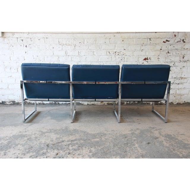 1970s Vintage Chromcraft Milo Baughman Style Three-Seat Sofa For Sale - Image 10 of 11
