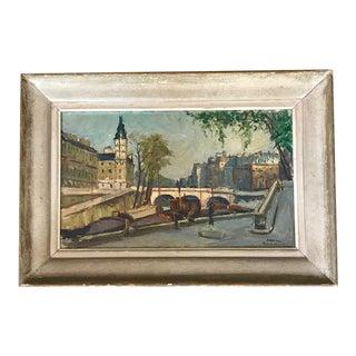 Pont Sur Rivière, Paris Oil on Canvas Painting For Sale