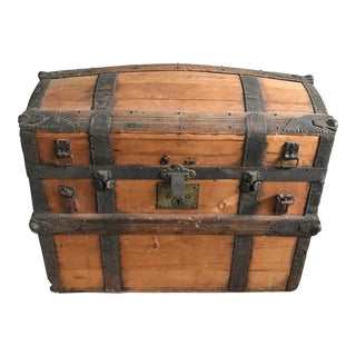 Antique Rustic Wooden Trunk For Sale