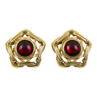 Yves Saint Laurent Ysl Clip on Earrings Gilt Metal Ruby Red Cabochon For Sale