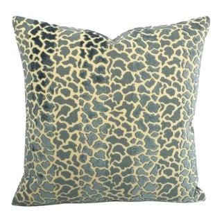 """Lee Jofa Timbuktu Velvet in Blue Animal Print Cut Velvet Pillow Cover - 19"""" X 19"""" For Sale"""