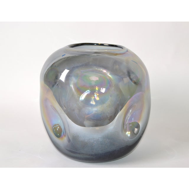 Mid-Century Modern Blown Smoked Glass Vase Mid-Century Modern With Mirror Coating & Round Indents For Sale - Image 3 of 13