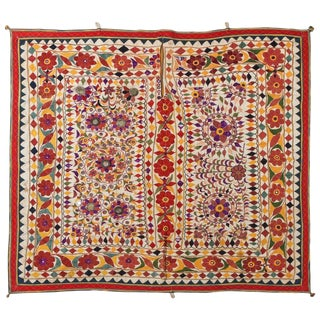 Indian Mirrored Hand Embroidered Textile For Sale