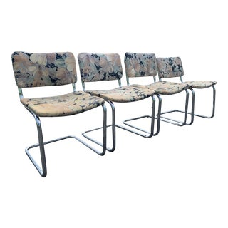 Marcel Breuer Style Chrome Upholstered Cesca Dining Chairs - Set of 4 For Sale
