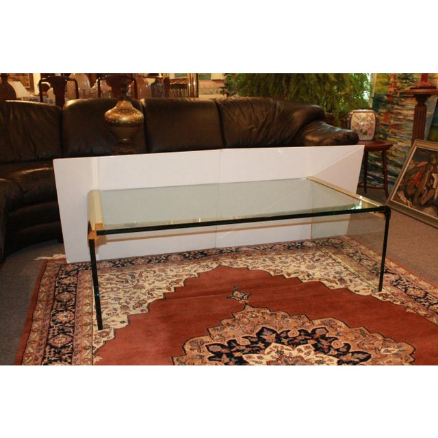 1970s 1970s Modern Leon Rosen for Pace Collection Waterfall Glass and Brass Cocktail Table For Sale - Image 5 of 8
