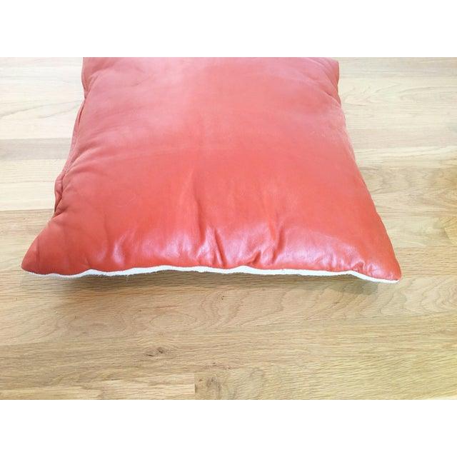 Orange Leather Pillow - Image 3 of 5
