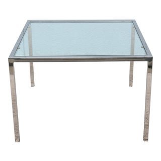 Mid-Century Modern Milo Baughman Style Glass and Stainless Steel Square Side Table For Sale