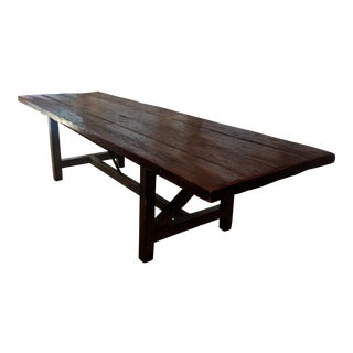 Antique French Farmhouse Extra Long Dinning Table For Sale