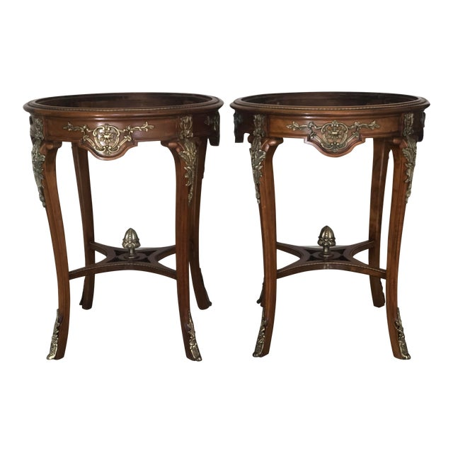 French Ormolu Mounted Side Marble Tables - a Pair For Sale